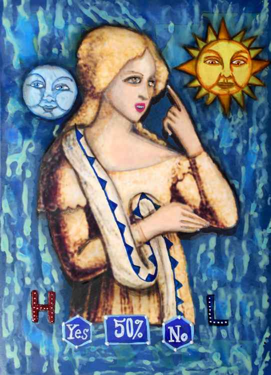 Weather Woman Predicts Sun or Rain Storms with 50% Accuracy Gouache Original Painting -
