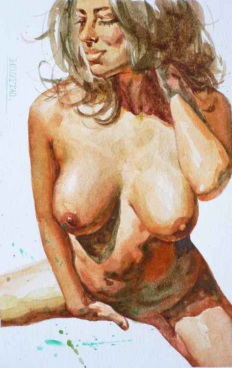 Original watercolour painting art  female nude girl women  on paper #16-4-4-07