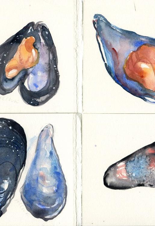 Set of 4 Mussels Original Watercolour Paintings - Image 0