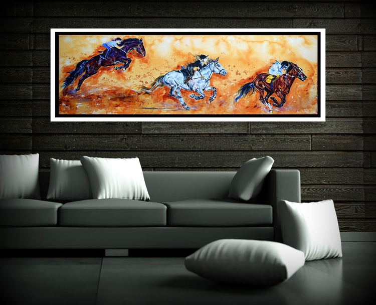 The race / Horses Equine Modern Wall Art Home Decor by Anna Sidi - Image 0