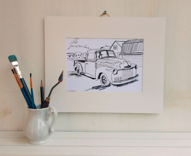 Vintage Old Car. Black and White drawing. - Image 0