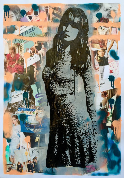 """""""It Girl' - mixed media painting - Image 0"""