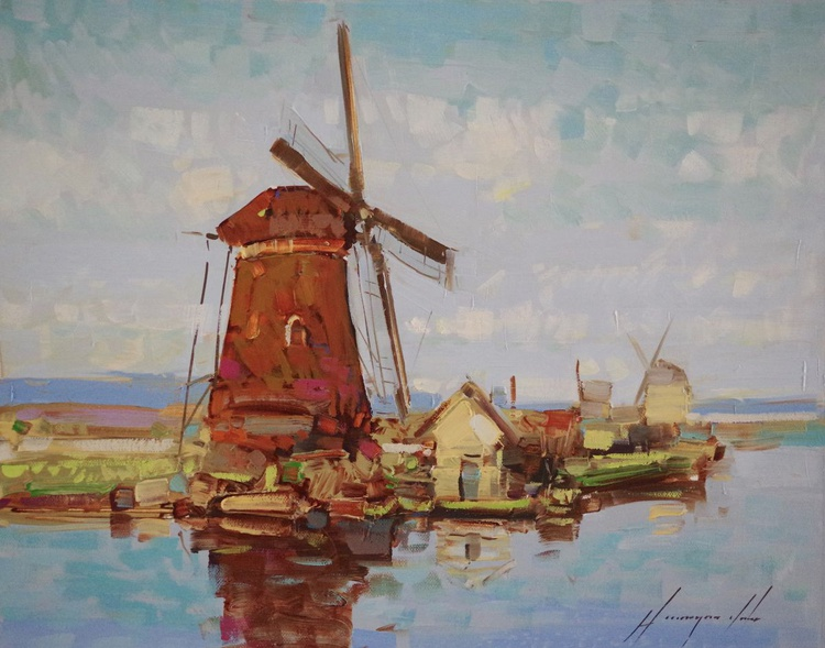 Old Mill, Landscape, Original oil painting, One of a kind Signed with Certificate of Authenticity - Image 0