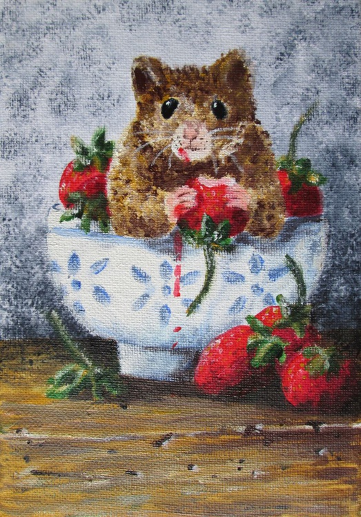 """""""CAUGHT RED-HANDED"""", Acrylic on canvas, still-life with a twist, hamster and strawberries, original acrylic on canvas artwork - Image 0"""