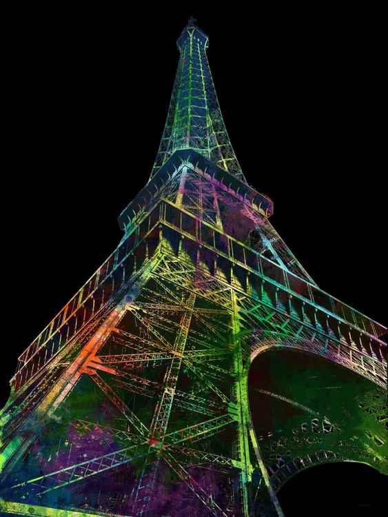 Eiffel Tower, Black Background