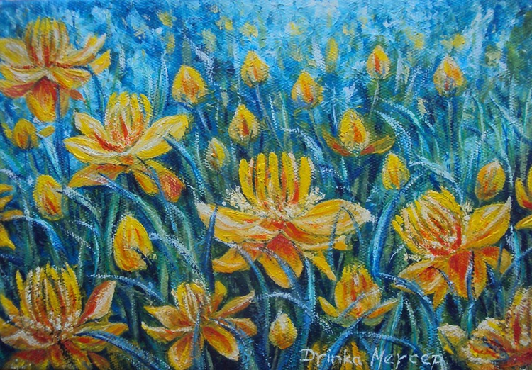 Yellow Flowers Original Oil Painting Impresionism Floral Art - Image 0
