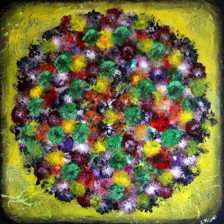 "Vintage Bouquet, Large Original Abstract Painting, 31.5""x31.5"", Vintage Home Decor - Image 0"