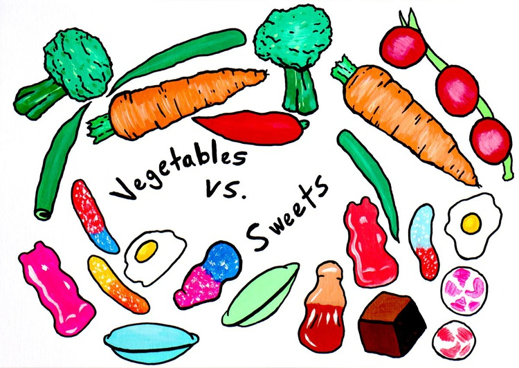 Sweets versus Vegetables - Decisions 1 - Pop Art Painting on A4 Paper - Image 0