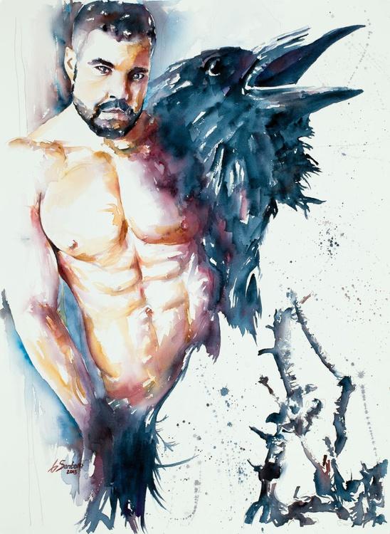 "Harbinger of Powerful Secrets - Male Figure & Raven 22x30"" Watercolor - Image 0"