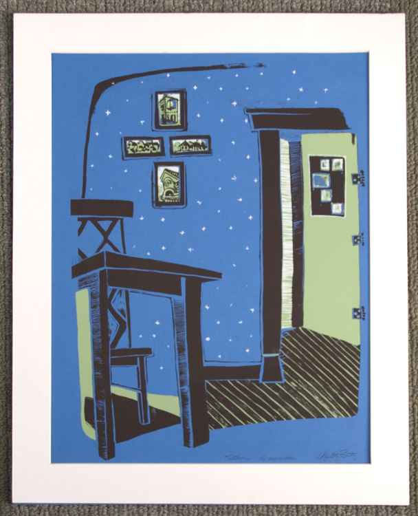 Kitchen Table in on Blue, with Brown, White and Green Ink - 3 color Screen Print Original