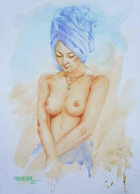 original art watercolour painting nude  girl  body on paper #16-5-6-03 -