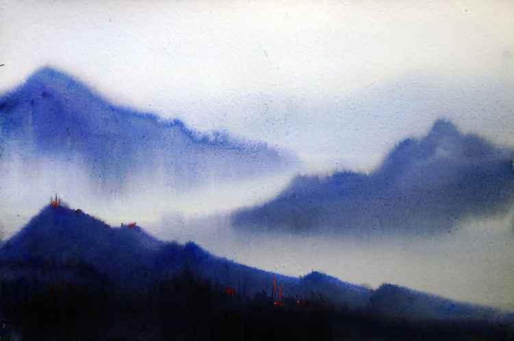 Monsoon Himalaya Mountain Beauty - Watercolor Painting -