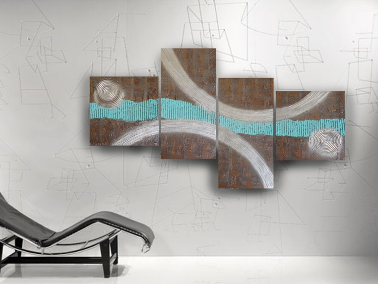Abstract textured paintings 90x190x4 cm rusty iron turquoise OOAK XXL OFFICE decor original abstract art a76 big ready to hang painting acrylic on stretched canvas metallic textured glossy wall art by artist Ksavera - Image 0