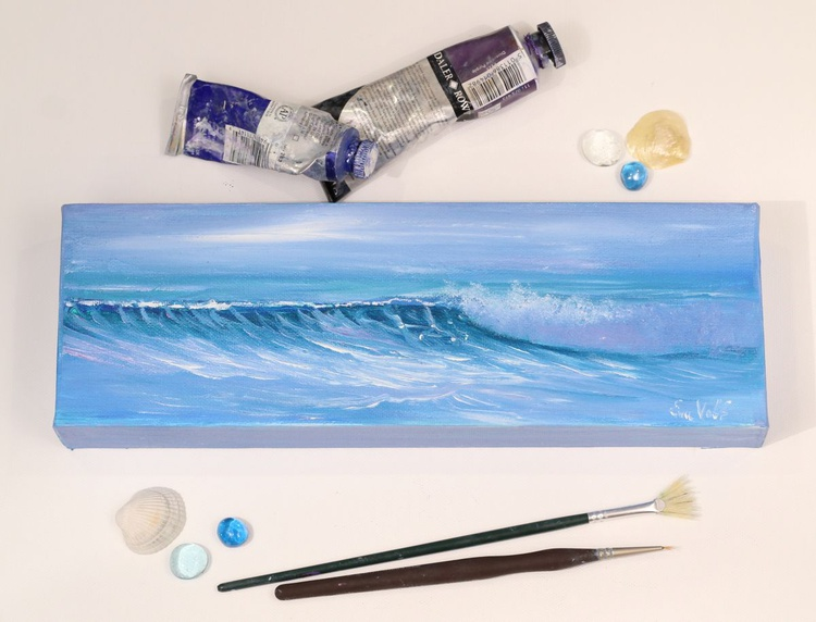 """Ocean Waves XVI 12x4"""" small seascape oil painting on canvas - Image 0"""