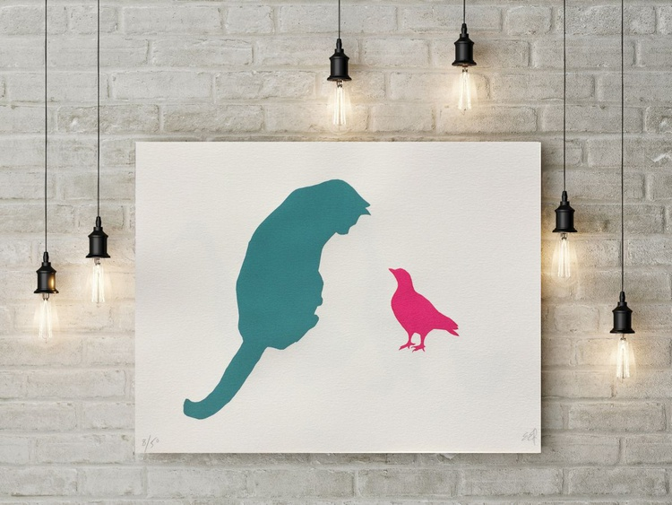CAT AMONGST THE PIGEON-unframed- FREE WORLDWIDE DELIVERY - Image 0