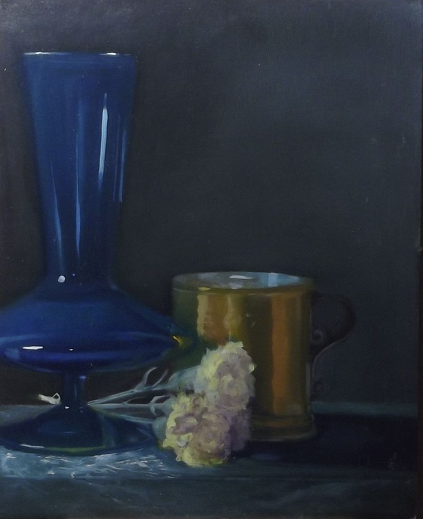 blue glass vase, copper cup with dried flowers - Image 0