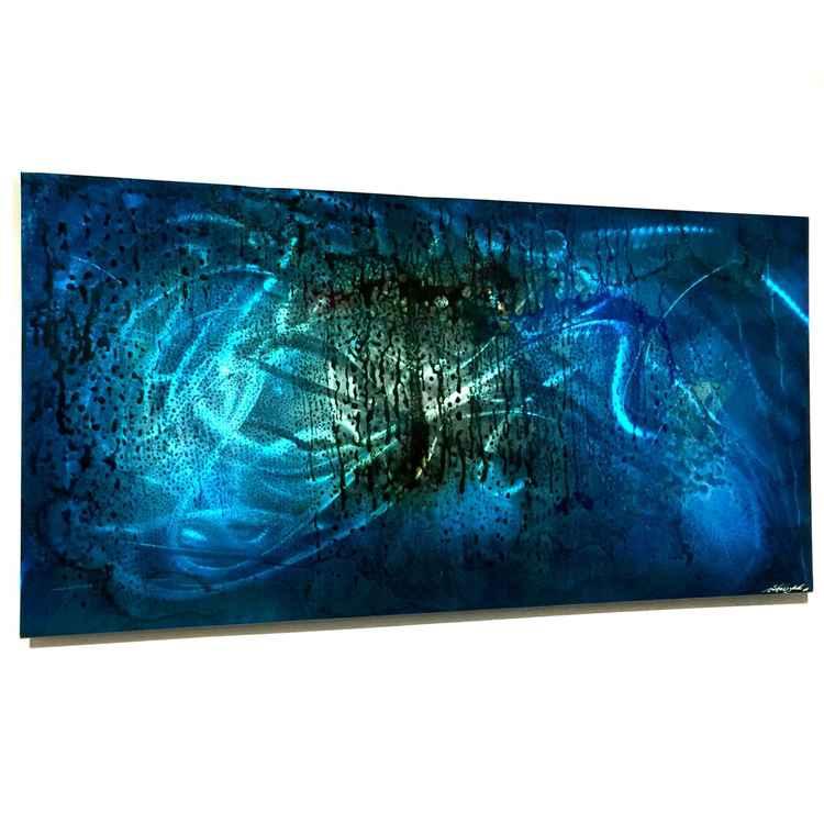 Blue Fury   Rich Blue Abstract Urban Metal Artwork