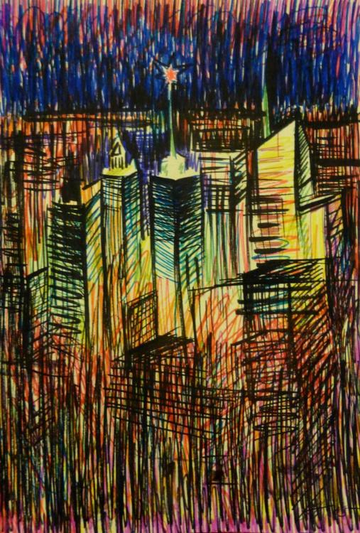 night city, 21x30 cm - Image 0