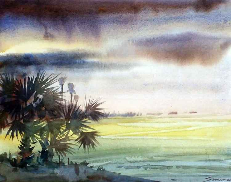 Monsoon & Palm Trees - Watercolor Painting
