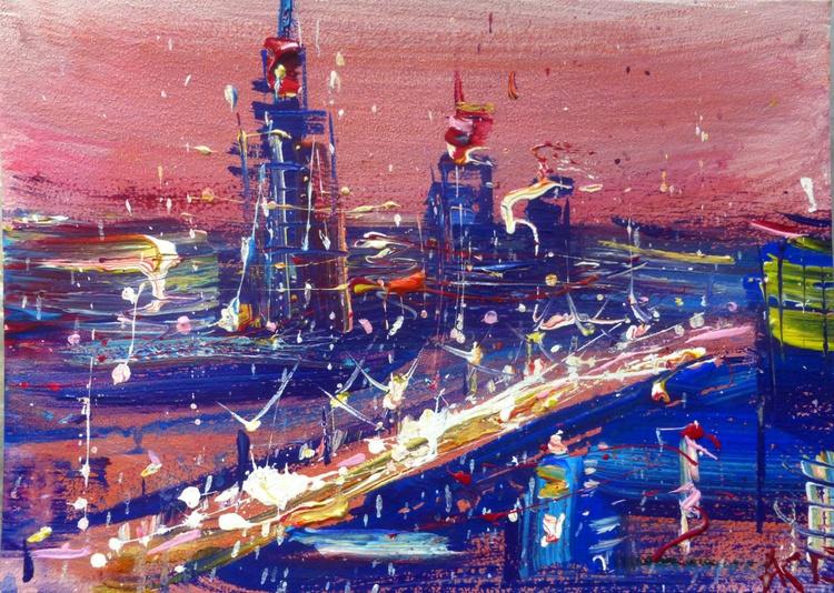 city at dawn, 35x25 cm - Image 0