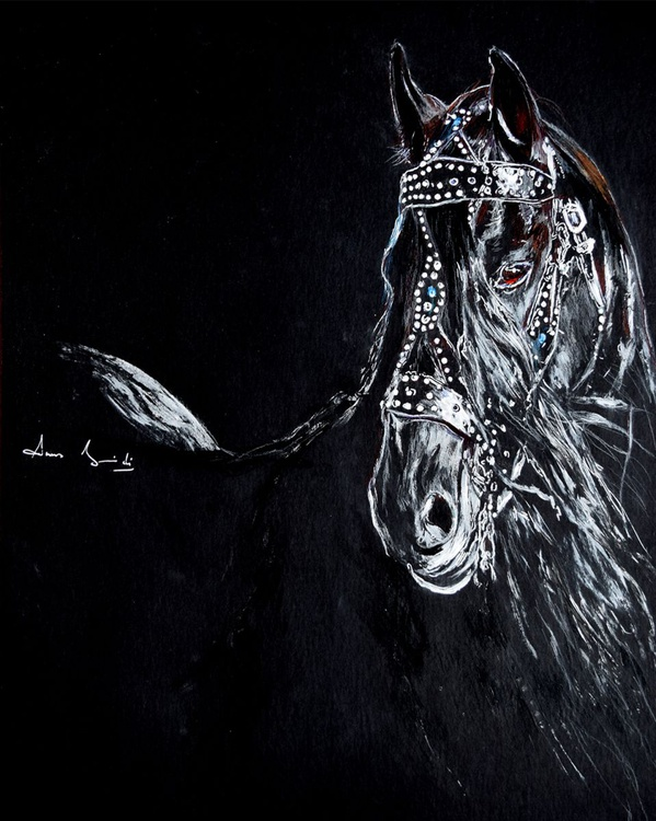 On black / Horse Head Equine Art  Modern Contemporary Wall Art Home Decor  by Anna Sidi - Image 0