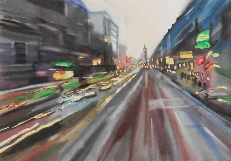 a city in motion, large watercolor painting 98x68 cm -