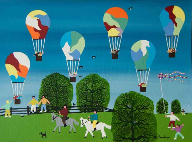 Horse riding with balloons flying high -