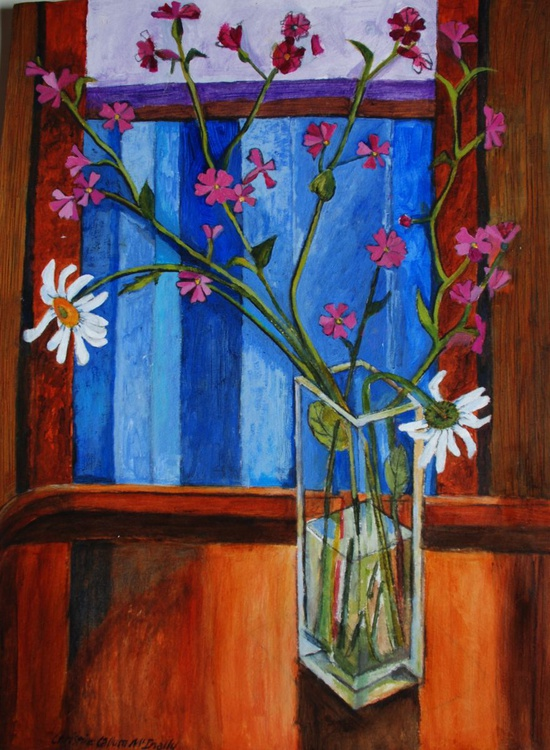 Blue window, red campion - Image 0