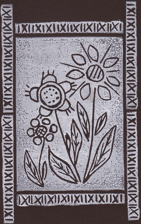Three flowers with border - Print 6 - Image 0