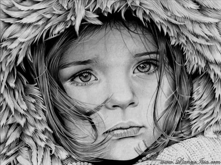 Little Girl winter - original pencil drawing -