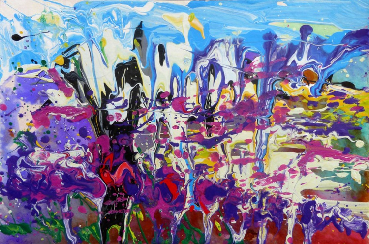 Spring in the mountains II. original abstract painting 30x20 cm - Image 0