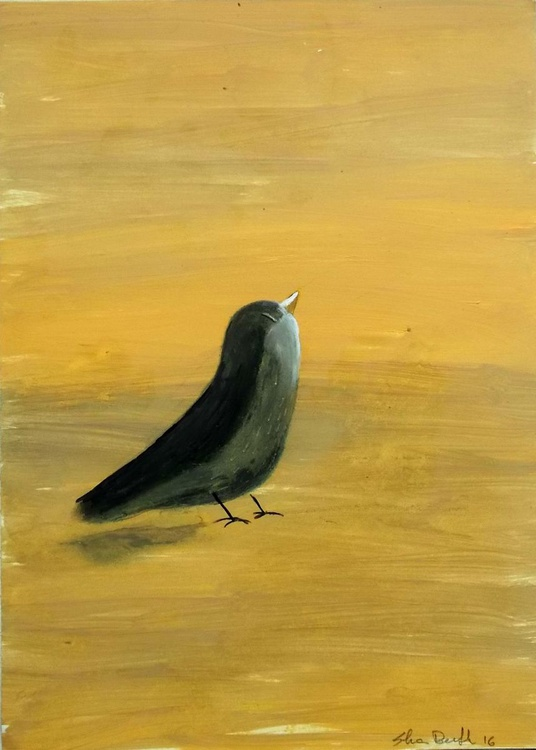 bird on yellow background - oil on paper - Image 0