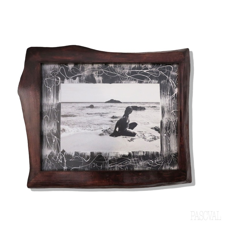 """""""Free at the beach"""" Unique wood frame, painted passpartú, fine art print by PASCVAL - Image 0"""
