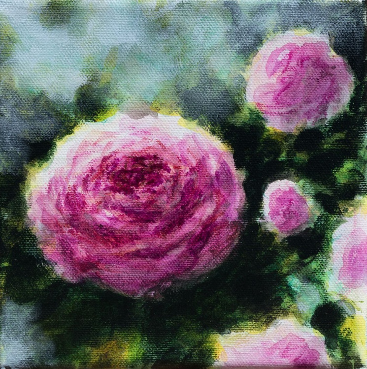 Roses - small size canvas 15X15 cm - Image 0