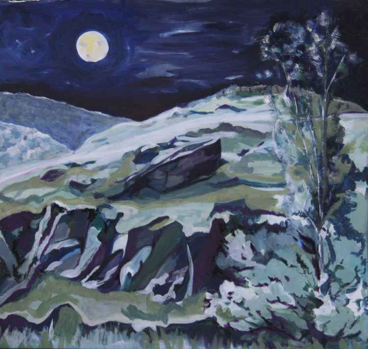Welsh Slate Landscape Moonlit -