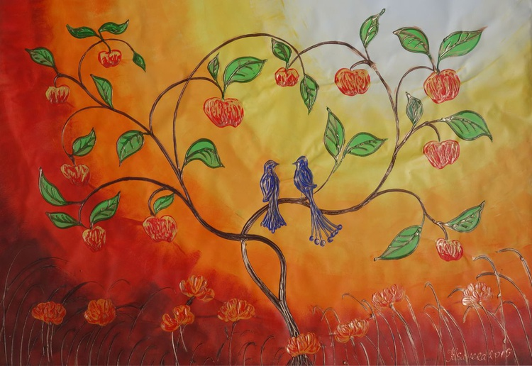 Apple Tree and two blue birds Large abstract painting 110x160 cm unstretched canvas art by artist Ksavera - Image 0