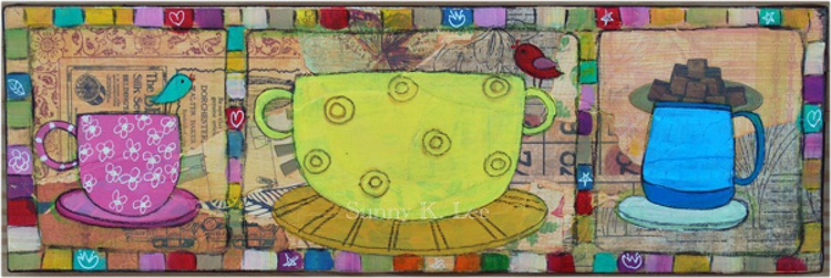 Three Cups and Birds - Image 0