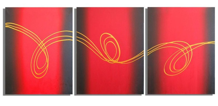 HUGE triptych abstract original abstract painting art canvas wall decor hanging- 48 X 20 inches  3 other sizes available - Image 0