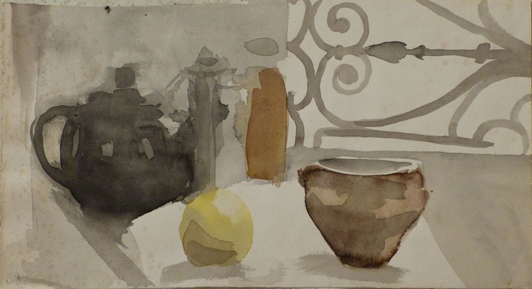 Still Life with Teapot and Apple, 46x25 cm - Image 0