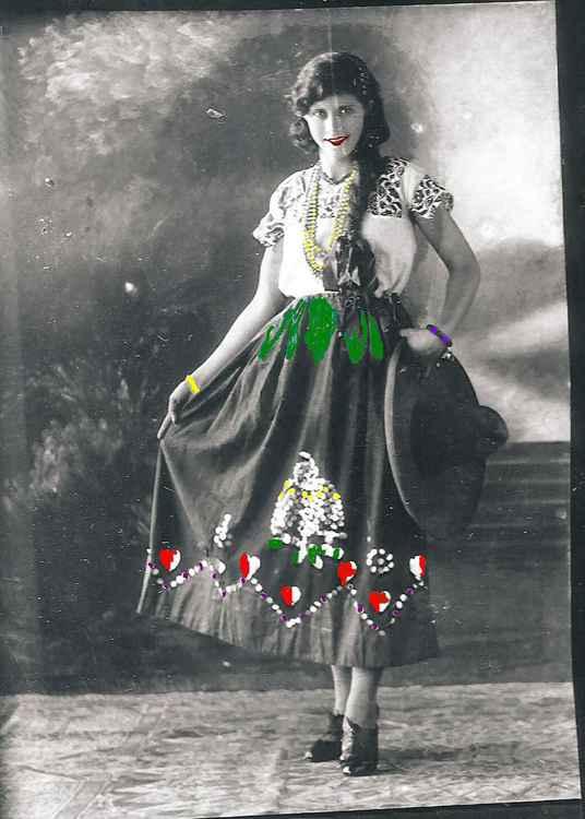 Celia China Poblana, c. 1935 • Samuel Gutierrez, Foto Estudio Paris, Jalisco, Mexico • Silver Rag Print
