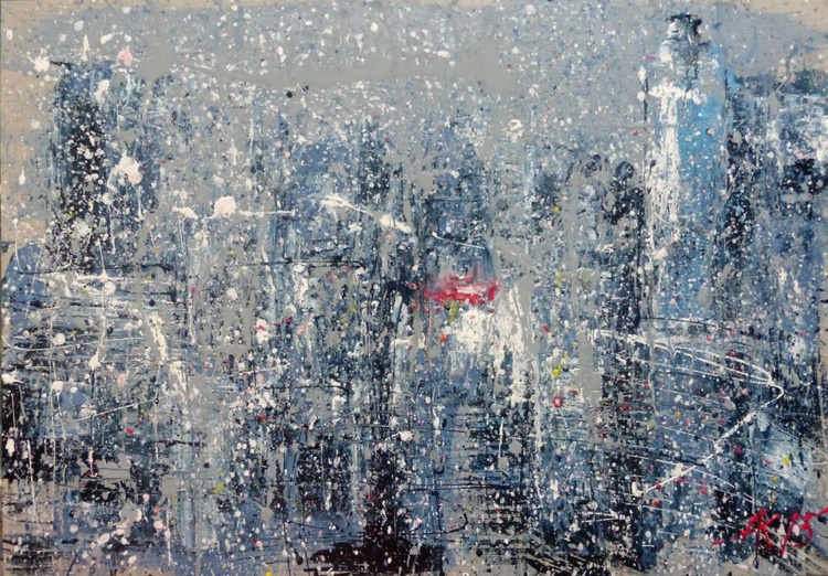 and it is snowing ... , large abstract painting 100x70 cm - Image 0