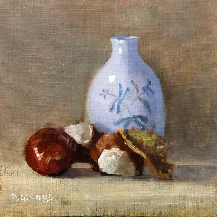 Chestnuts Brown and Porcelain Vase -