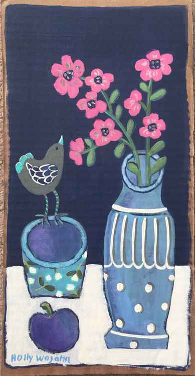 """Skinny Still Life in Blue and Pink"" -"