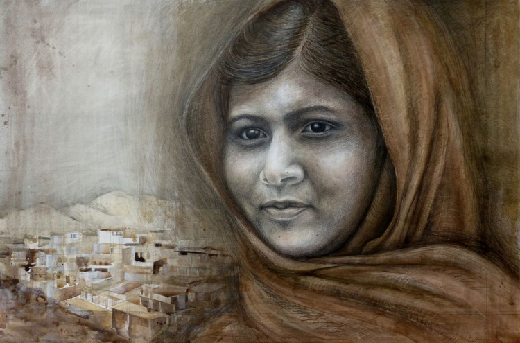 'I Am Stronger Than Fear' - Portrait of Malala Yousafzai - Image 0