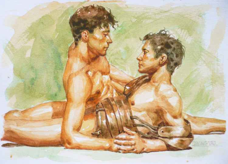 Original watercolour painting art male nude gay interest men on paper  #16-4-4-06