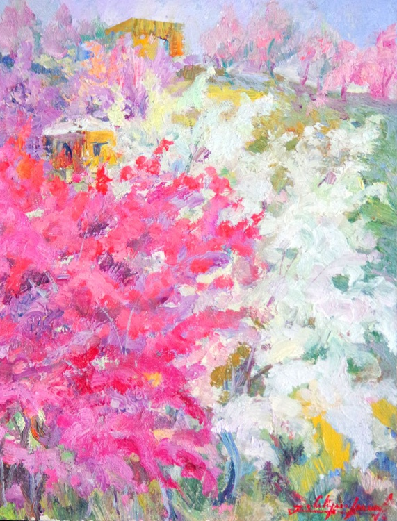 Spring Blossom , original one of a kind landscape art, painting, oil painting, pink white - Image 0