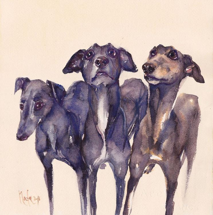 Three Greyhounds : Smoke, Chestnut & Indigo - Image 0