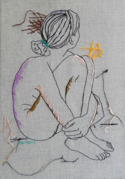 Embroidered Female Nude Figure Study Grey And Lilac - Image 0