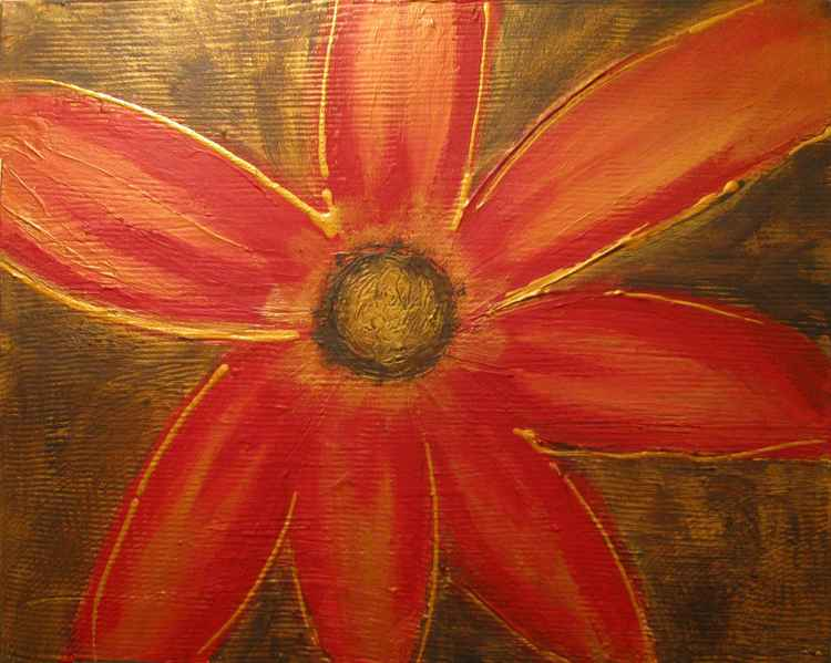 original abstract flower painting art canvas - Red Flower- 16 x 20 inches