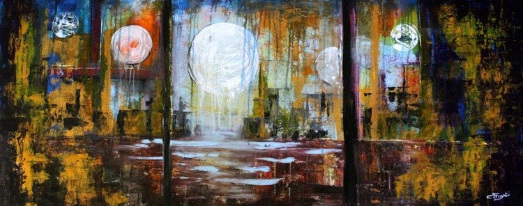 """Memory of Us - 55""""X22""""large abstract painting - Image 0"""